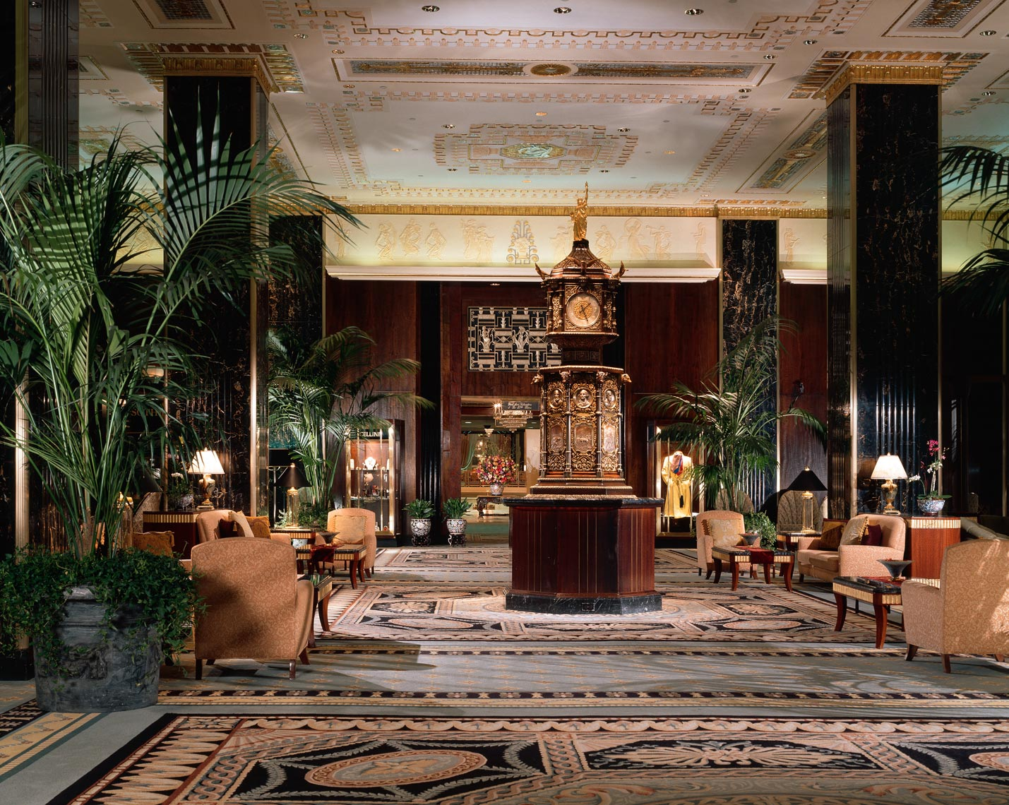 Main Lobby, Waldorf=Astoria, Park Avenue, New York, Interior Design by Kenneth E. Hurd & Associates