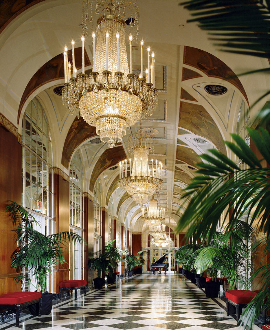 Silver Corridor, Waldorf=Astoria, Park Avenue, New York, Interior Design by Kenneth E. Hurd & Associates