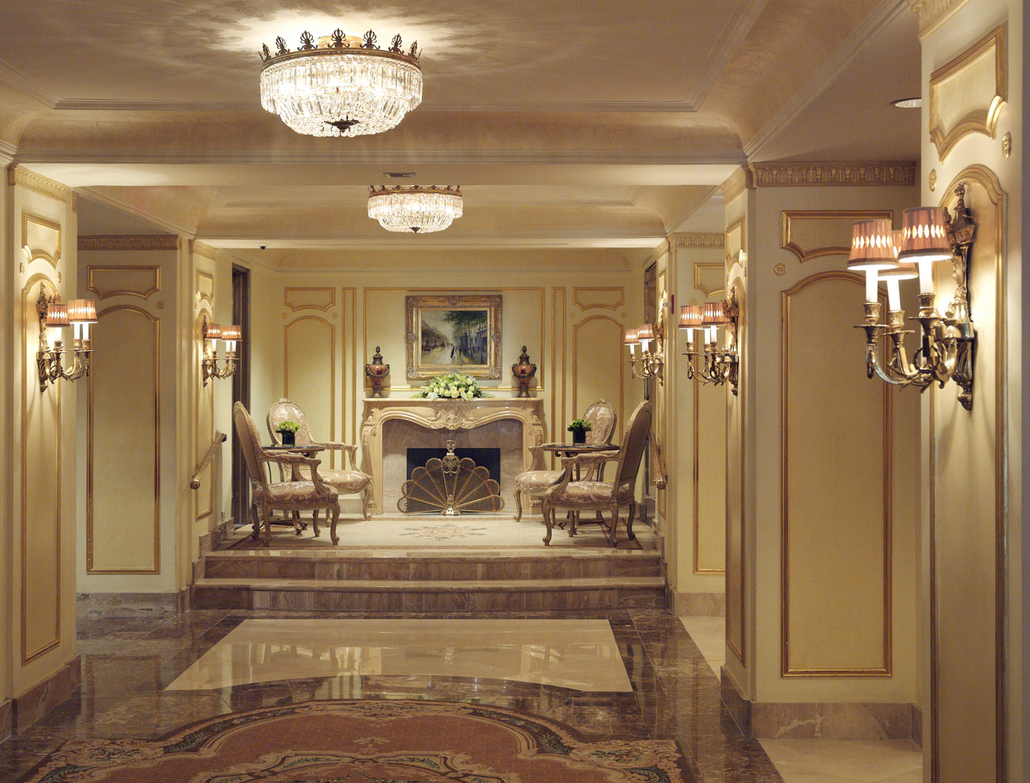 Waldorf Towers Lobby, New York, Interior Design by Kenneth E. Hurd & Associates